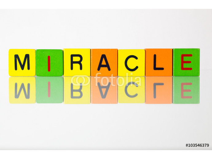 Miracle - an inscription from children's  blocks 64238