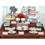 Fancy set table with sweets candies, cake, marshmallows, zephyr, 64238