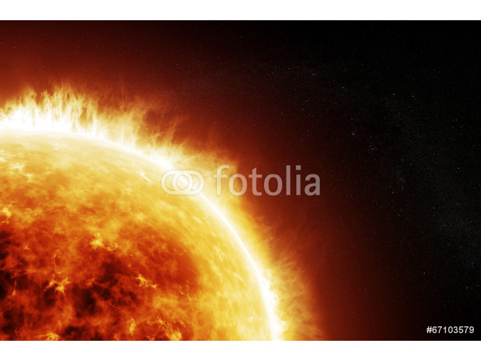 Burning sun on a space black background 64238