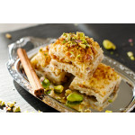 Turkish pistachio pastry dessert  baklava with green pistachios 64238