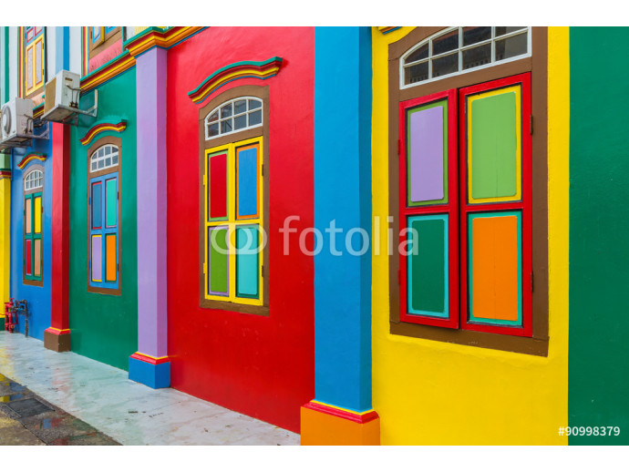 Colorful facade of building in Little India, Singapore 64238