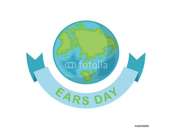 Greeting card with Earth day. Earth Day April 22 and blue Ribbon.  Globe on white background. Vector illustration 64238