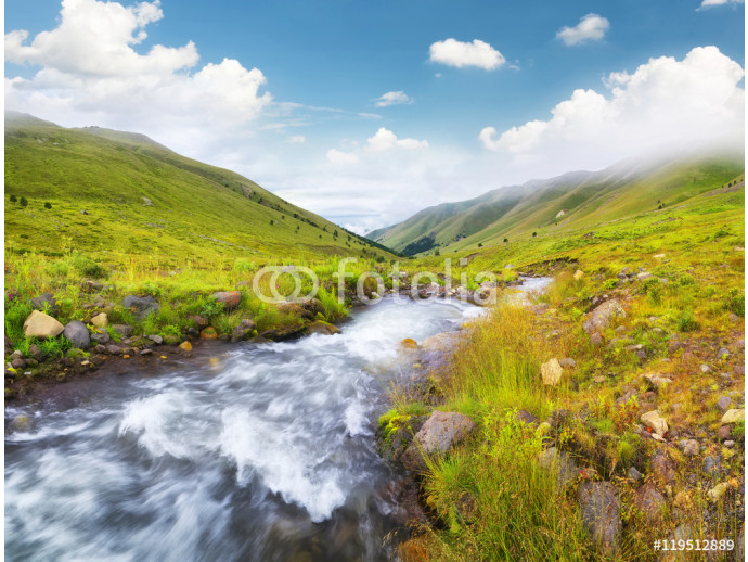 Papier peint moderne River in mountain valley. Beautiful natural landscape 64238