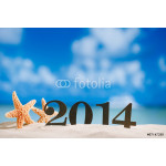 2014 letters with starfish, ocean , beach and seascape, shallow 64238