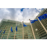 EU flags in front of European Commission in Brussels 64238