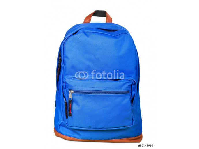 Backpack. Red backpack standing isolated on white background 64238