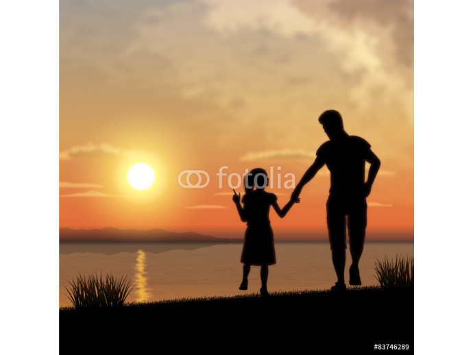 Fototapeta Father and child silhouette 64238