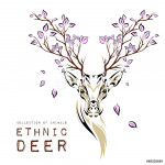 Ethnic colored head of deer with branches on the horns. totem / tattoo design. Use for print, posters, t-shirts. Vector illustration 64238