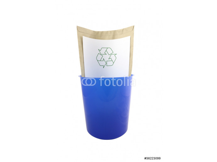 Blue plastic bucket recycle symbol on white background. 64238