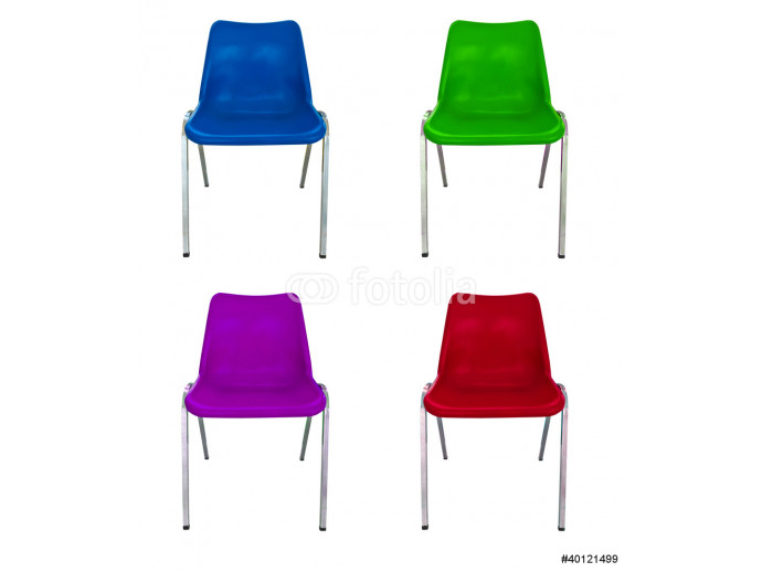 plastic chairs on white background 64238