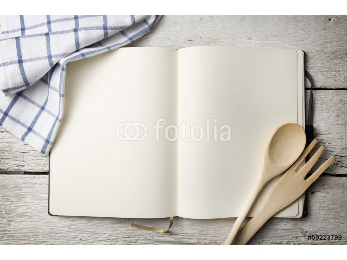Blank recipe book on wooden table 64238