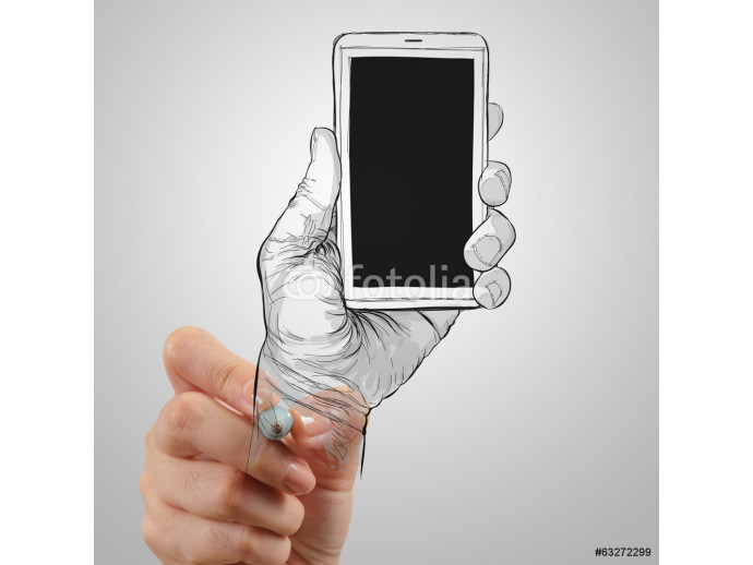 Hand drawn hands with mobile phone as concept 64238
