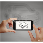 Smart hand using touch screen phone take photo of Car icon as co 64238
