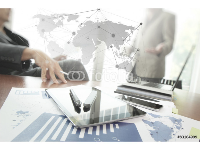 business documents on office table with smart phone and digital 64238