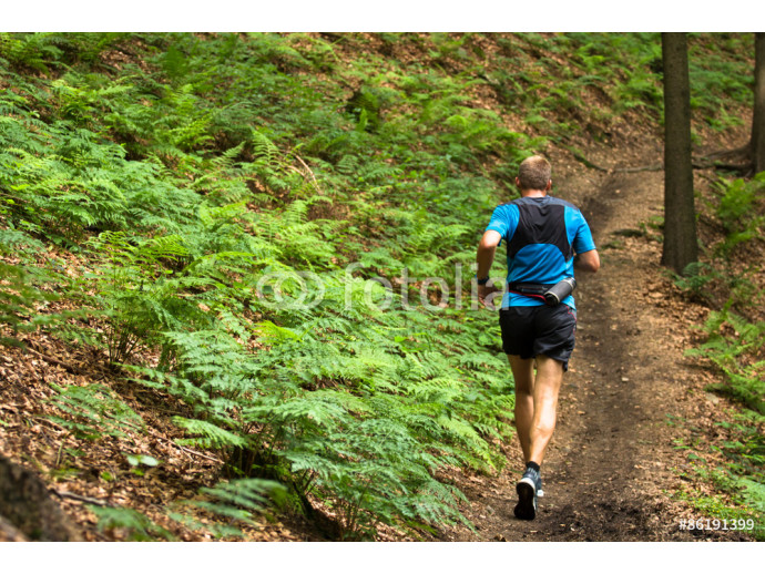 man running and training on the single trail in the forest 64238