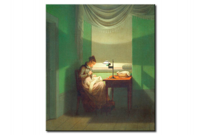 Reproduktion Young Woman Sewing by Lamplight 111368