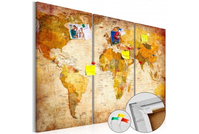 Decorative pinboard Retro World Map [Cork Map] - Decorative Pinboards
