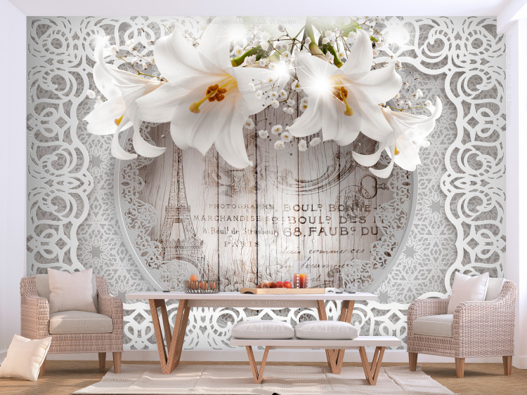 Lilies and Wooden Background