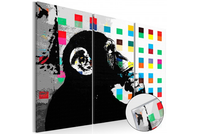 Acrylic print The Thinker Monkey by Banksy [Glass] 94329