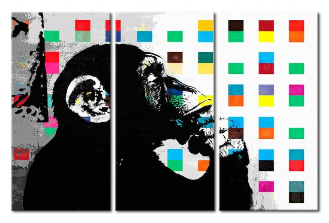 Acrylic print The Thinker Monkey by Banksy [Glass] 94329 additionalImage 1