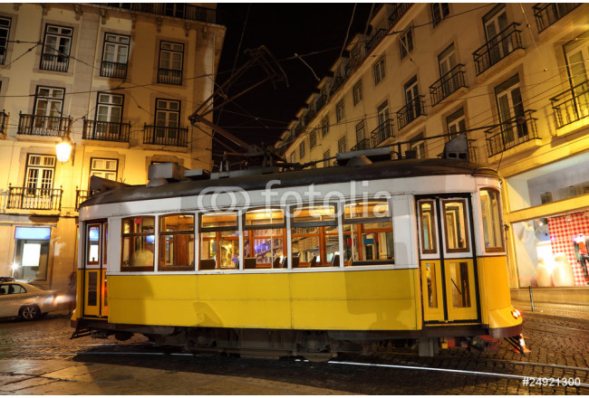 Old tram in the city of Lisbon at night, Portugal 64239