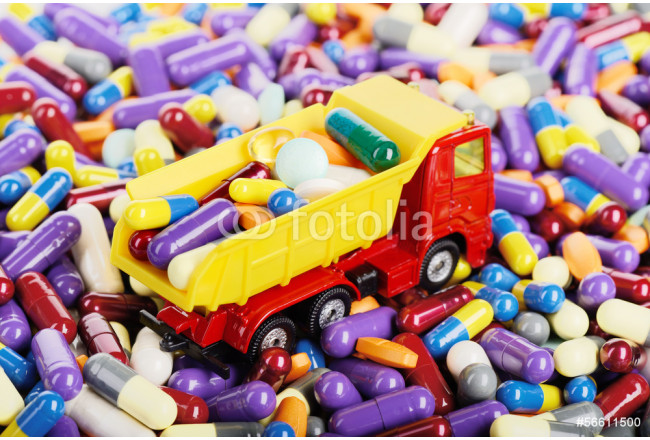 Dump truck toy transported pills 64239