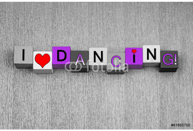 Cuadro decorativo I Love Dancing, sign for ladies dance, in pink. 64239