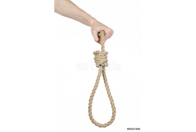 man's hand holding a loop of rope for hanging on isolated 64239
