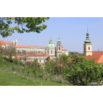 Prague's St. Nicholas' Cathedral with flowering trees 64239
