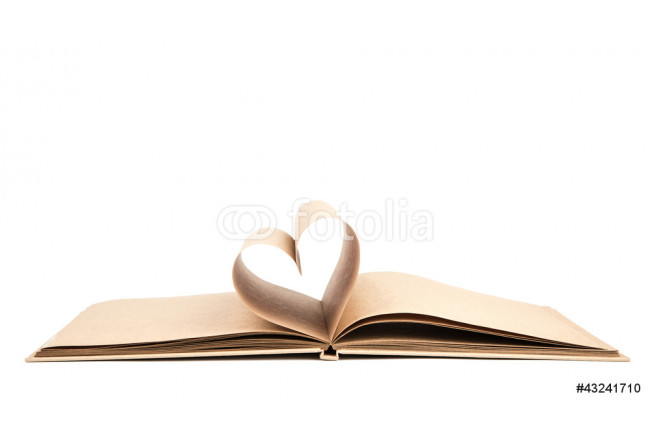 Book with opened pages of shape of heart isolated on white backg 64239