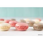 Chocolate, vanila and strawberry macaroons (macarons). Vintage. 64239