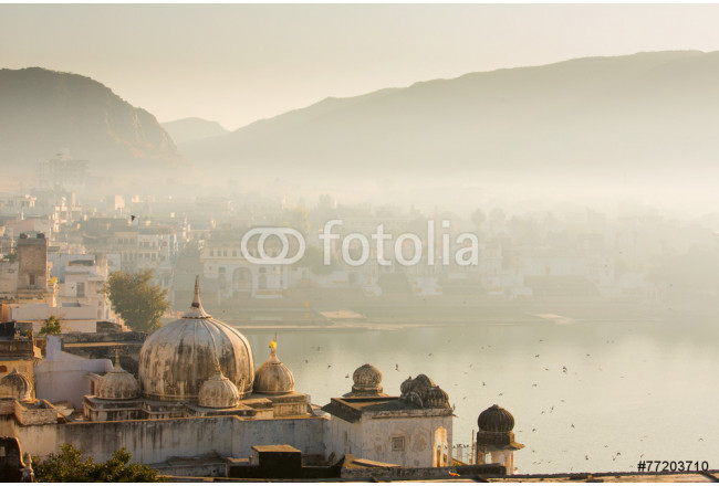 Cuadro decorativo View of Pushkar City in India on a fog morning 64239