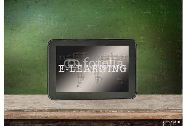 Black tablet with  E-learning concept. 64239