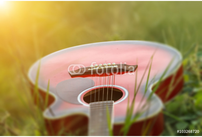 Bild auf Leinwand blurry and soft focus of guitar on grass at sunset 64239