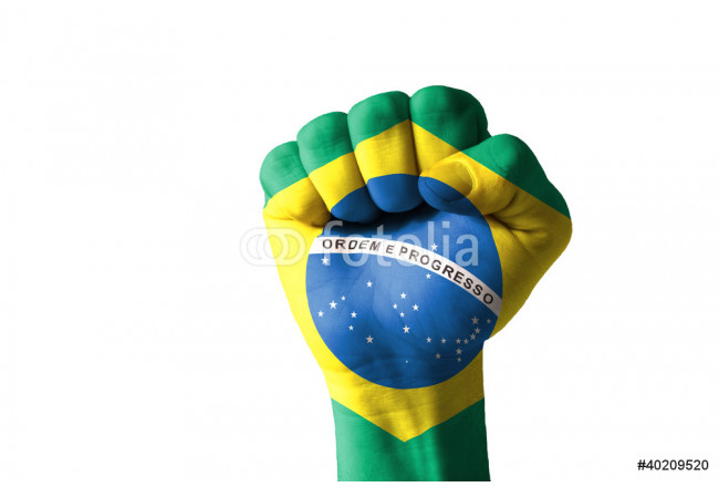 Fist painted in colors of brazil flag 64239