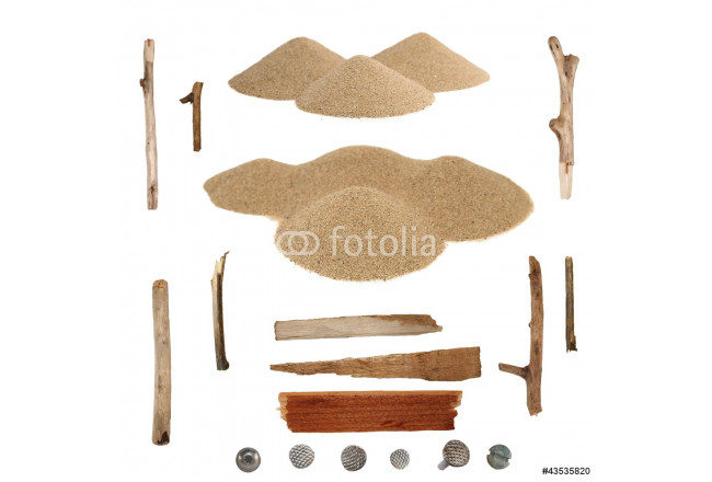 Set pile desert sand, branches and screw heads isolated on white 64239