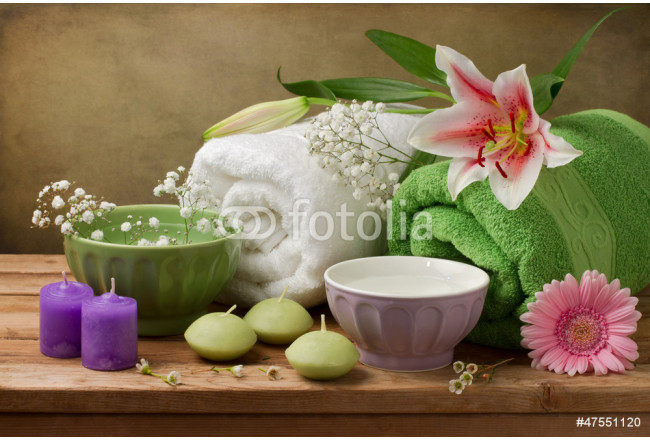 Spa concept still life with candles and towels 64239