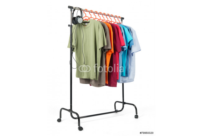 Mobile rack with clothes on white background. 64239