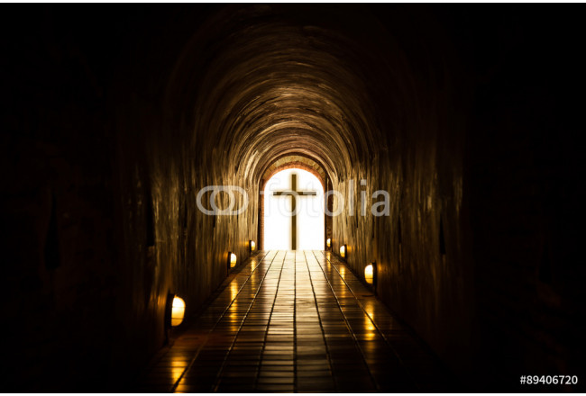 Silhouette of the cross at the end of tunnel. 64239
