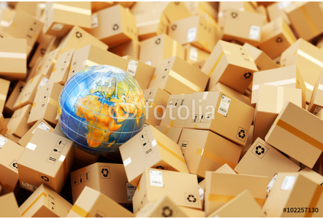 Distribution warehouse, international package shipping, global freight transportation business, logistics and delivery concept, background with heap of cardboard boxes, parcels and Earth globe 64239