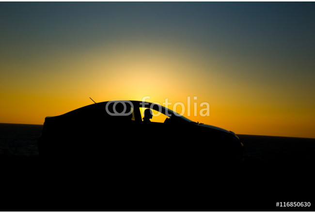 Silhouette of sedan car with girl on the background of beautiful sunset 64239
