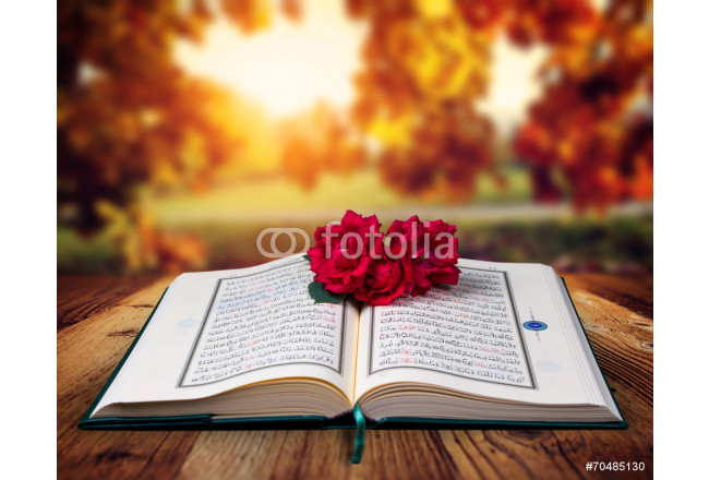 Quran and rose on the wood table, autumn background. 64239