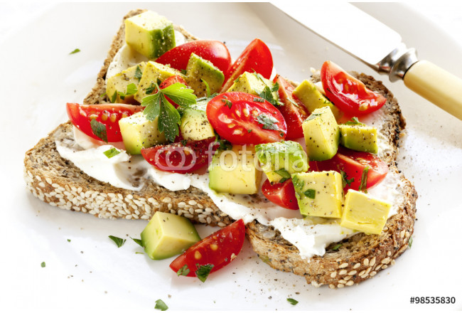 Painting Toast with Cream Cheese Avocado and Tomato 64239