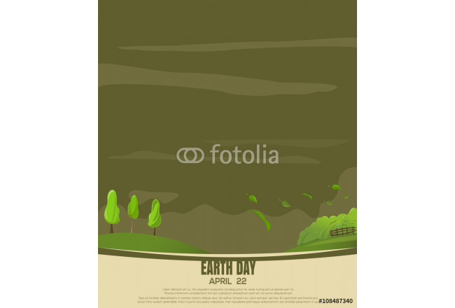 Country landscape. Poster, cover, card, print design for Earth Day. Vector illustration 64239