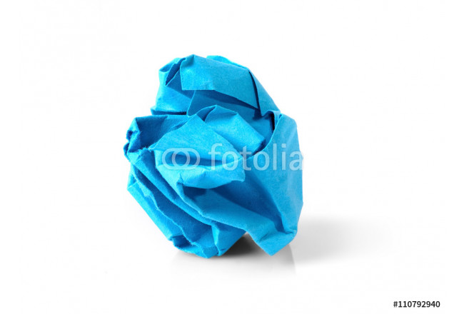 Blue Paper Ball Isolated on White Background. 64239