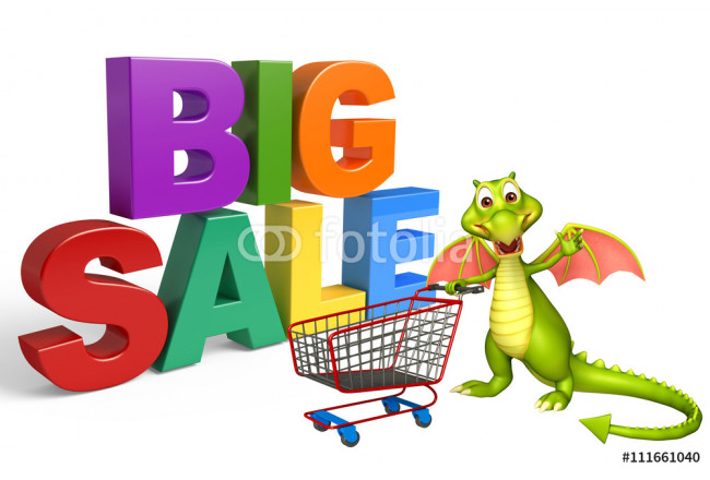 Dragon cartoon character with big sale sign and trolly 64239