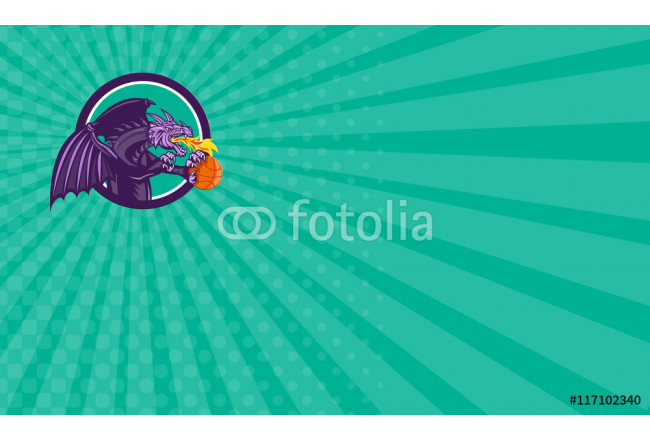 Business card Dragon Fire Holding Basketball Circle Retro 64239