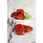 Dried tomatoes with basil leaves. 64239