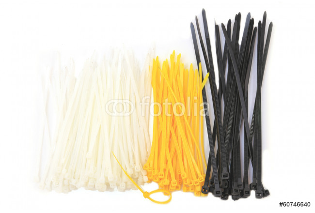 colored cable ties isolated against white background 64239
