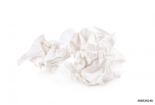 used screwed paper tissue isolated on white background 64239